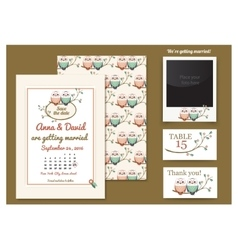 Template card with owls on a tree branch Greeting vector image