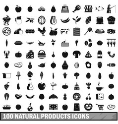 100 natural products icons set simple style vector