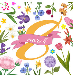 8 march women international woman day decorated vector