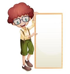 A boy showing an empty frame vector