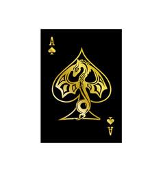 Ace spades dragon gold vector