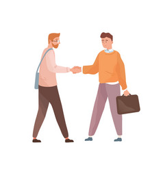 Adult people shaking hands isolated on white vector