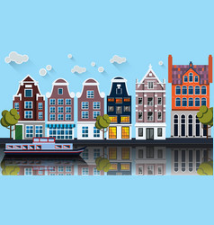 Amsterdam panoramacanalboathouses vector