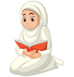 Arab muslim woman in traditional clothing reading vector