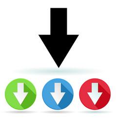 arrow icon colored set of down arrow signs vector image