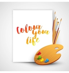 Art palette with paint brush and pencil tools for vector image