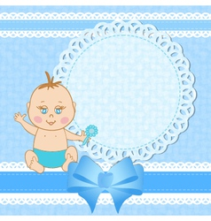 Baby shower greeting card for baby boy vector image