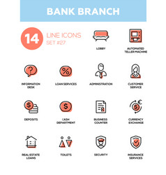 Bank branch - modern single line icons set vector