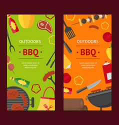 barbecue and grill banner vecrtical set vector image