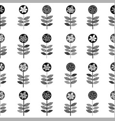 black and white rows of flowers seamless vector image