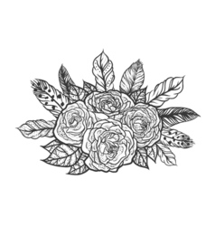 Blackwork tattoo rose and feathers bouquet very vector