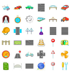 Bridge road icons set cartoon style vector