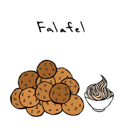 Bunch of falafel balls and sauce middle eastern vector