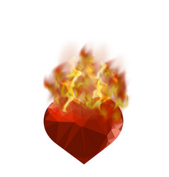 Burning heart with fire flame vector