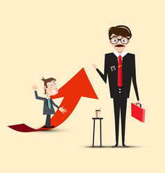 businessmen characters red with arrow vector image