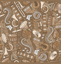cartoon hand-drawn classic music seamless pattern vector image