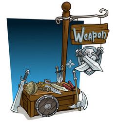 Cartoon weapon vendor booth market wooden stand vector