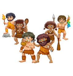 cavemen in different positions vector image