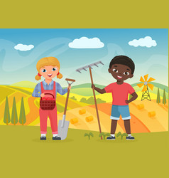 Children farmers with work tools funny boy girl vector