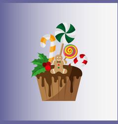 christmas cupcake festive cupcake christmas and vector image
