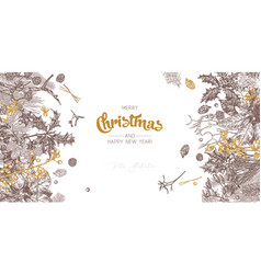 christmas festive vintage horizontal background vector image