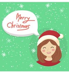 Circle christmas girl bubble speech vector