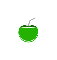 Coconut drink beverage icon logo design template vector