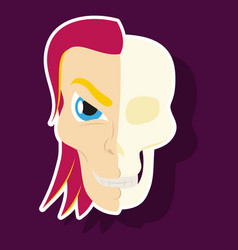 Comic stylized superhero skeleton face print vector