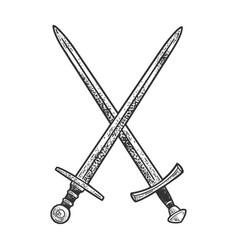crossed swords sketch vector image