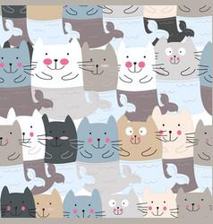Cute cat mermaid cartoon seamless pattern vector