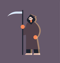 cute guy wearing grim reaper scarecrow costume man vector image