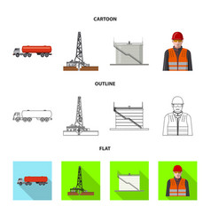 Design of oil and gas sign collection of vector
