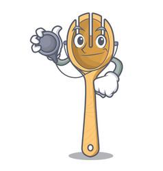 Doctor wooden fork character cartoon vector