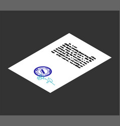 document with stamp seal and signature isometric vector image
