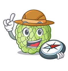 Explorer fresh custard apple sweet fruit cartoon vector