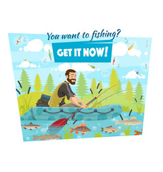 fisherman in boat fishing sport hooks and baits vector image