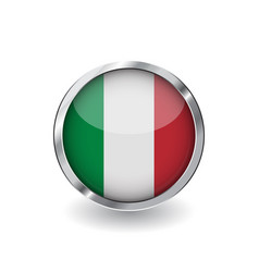 flag of italy button with metal frame and shadow vector image