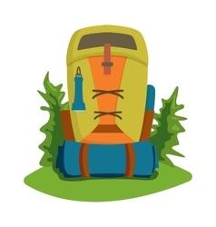 Flat hiking travel backpack bag vector