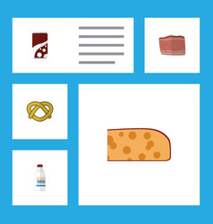 flat icon eating set of fizzy drink cookie vector image