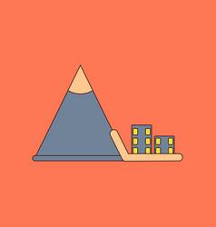 flat icon stylish background mountain avalanche vector image