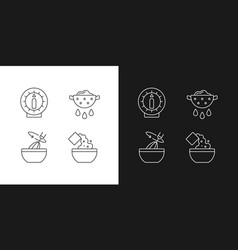 Food preparation linear icons set for dark vector