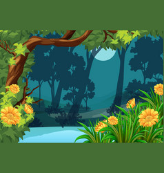 Forest scene with flowers and moon vector