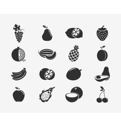 Fruit silhouettes icons vector