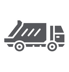 Garbage truck glyph icon transportation and auto vector