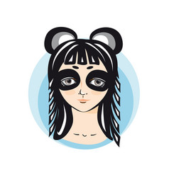 Girl in panda costume portrait avatar vector
