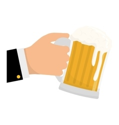 Glass of beer in the hand icon design vector