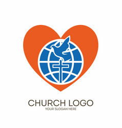 Globe cross dove and heart vector