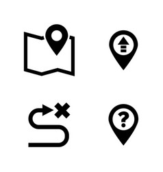 Gps route distance simple related icons vector