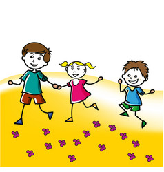Hand drawn children walk on the lawn in the summer vector