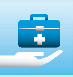 hand holding kit first aid medical vector image